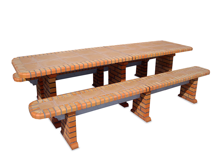 Table With Tiles All Brick   Height 75 Cm X Width 89 Cm X ...